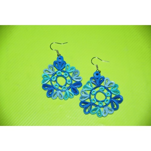 QUILLING EARRINGS (BLUE DANGLINGS)