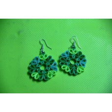 QUILLING EARRINGS (GREEN DANGLINGS)