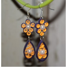 QUILLING EARRINGS (VIOLET & ORANGE DANGLINGS)