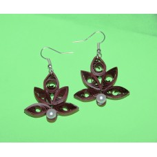 QUILLING EARRINGS(BROWN WITH PEARL)