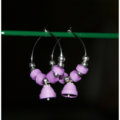 QUILLING EARRINGS(PURPLE RING)