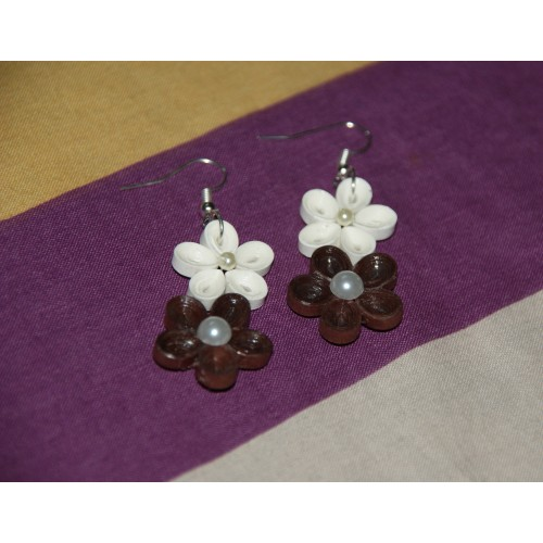 QUILLING EARRINGS(BROWN & WHITE)