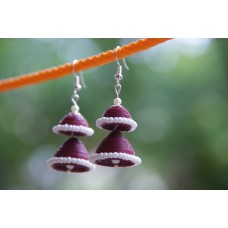 QUILLING DOUBLE JHUMKAS(MAROON)