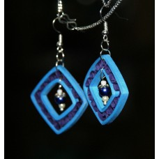 QUILLING EARRINGS(BLUE SQUARE)