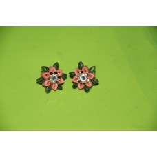 QUILLING EARSTUDS (PEACH N GREEN)