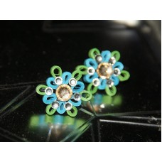 QUILLING EARSTUDS (BLUE N GREEN)