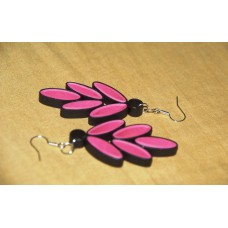 QUILLING EARRINGS(PINK N BLACK)
