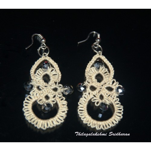 TATTED EARRINGS - CREAM COLOUR